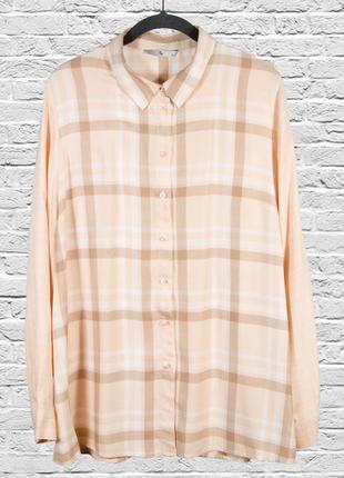 Женская рубашка в клетку, бежевая рубашка оверсайз, свободная рубашка с длинным рукавом