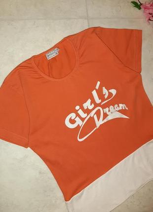 Стильная оранжевая футболка mosaic, размер 44 - 463 фото