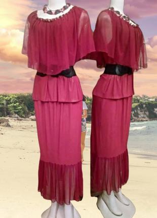 Шикарное платье-костюм вишневого цвета с изумрудным напылением, пог 56-66 см.