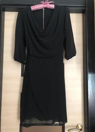 Платье шифоновое черное