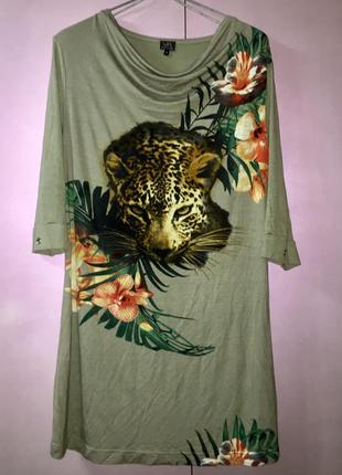 Легкое летнее платье туника.трикотаж.леопард цветы