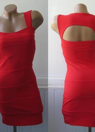 Платье бандажное, фактурное, облегающее