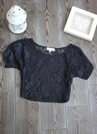 Кроп топ блуза с кружевом