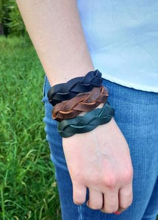 Набор из 3 кожаных браслетов. кожаный браслет