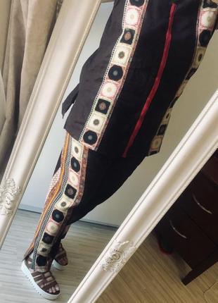 Супер стильный костюм из льна туника и брюки с отделкой - натуральный шёлк