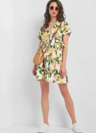 Белое платье с лимонами на пуговицах orsay
