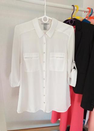 Стильная белая блуза рубашка с подворотом