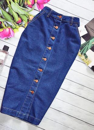 Шикарная джинсовая юбка карандаш на пуговици