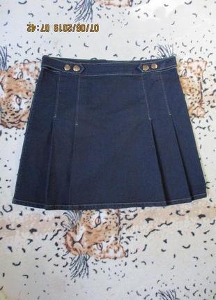 Стильная джинсовая юбка со складками/стрейчевая