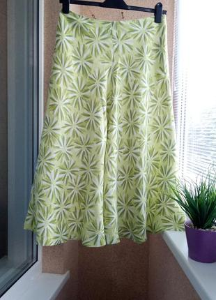Красивая летняя юбка в цветочный принт 100% лен