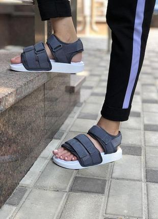 Шикарные топовые босоножки adidas adilette sandal greyунисекс 😍 (сандалии)
