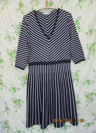 Трикотажное платье в полоску/батал uk 20/наш 52-54 размер/тёплое