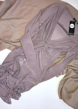 Новое коктейльное вечернее атласное миди платье на запах в бельевом стиле boohoo, p.s(36)
