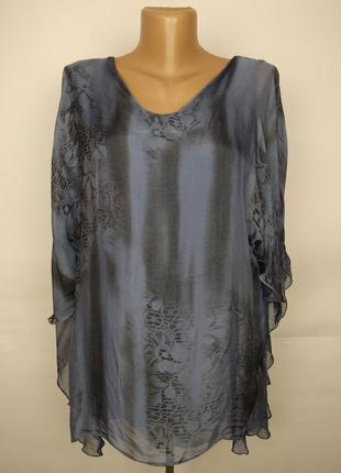 Блуза шелковая натуральная итальянская красивая оригинальная uk 16/44/xl