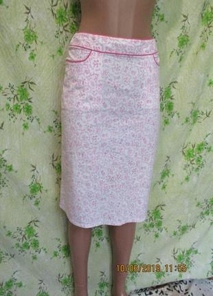 Летняя нежная хлопковая стрейчевая юбка в цветочный принт