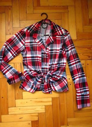 Яркая блузка в принт_атласная рубашка офисная/в школу