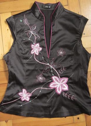 Блуза атласная_майка в японском стиле с вышивкой, пайетками и бисером р.46-48