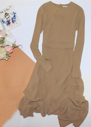 Шикарное длинное платье с асимметричны низом
