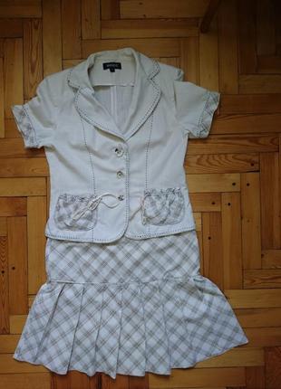 Летний хлопковый легкий костюм-тройка_юбка топ пиджак