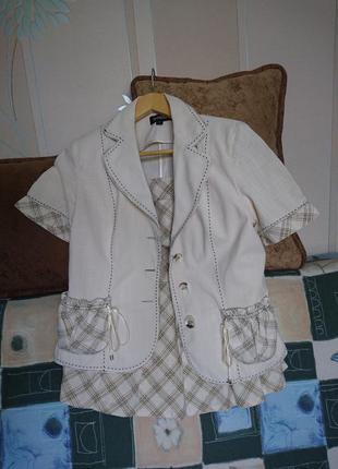 Летний хлопковый легкий костюм-тройка_юбка топ пиджак5 фото