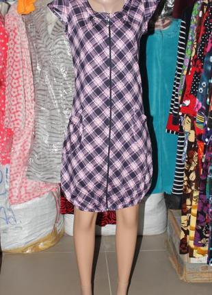 Летнее платье-туника футболка на молнии
