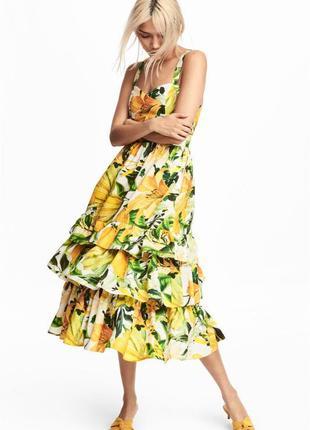 💛🍋невероятно красивый поплиновый сарафан платье h&m цветочный принт с лимонами