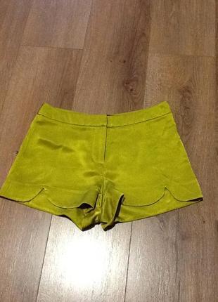 Шелковые шорты topshop petite цвета лайма1 фото