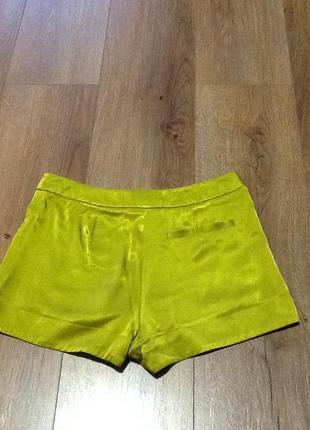 Шелковые шорты topshop petite цвета лайма3 фото
