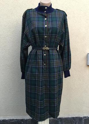 Винтаж,красивое,шерсть платье в шотландскую-английскую клетку,большой размер
