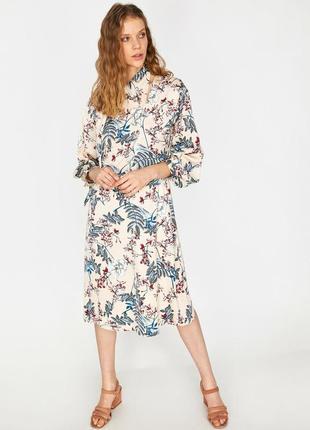 Платье миди цветочный принт длинный рукав