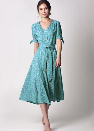 Мятно-бирюзовое платье миди