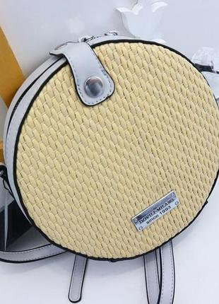 Круглый клатч с плетением, сумка через плечо 9933 серый