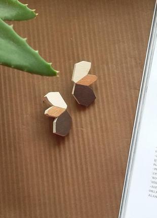 Оригінальні дерев'яні сережки