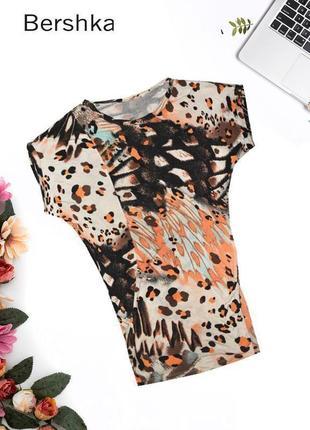 Длинная леопардовая футболка-туника bershka