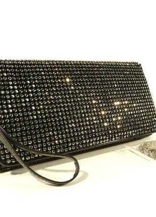 2c3539004c34 Клатч из камней женский выпускной вечерний сумка малая черная rose heart