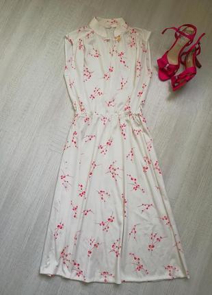🌹нежное винтажное платье миди в цветочный принт 🌹 белое платье