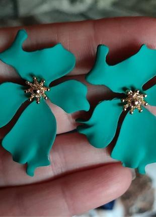 Серьги в стиле zara сережки цветочки