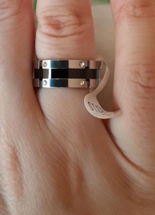 Кольцо нержавеющая сталь колечко серебро черное