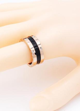 Кольцо нержавеющая сталь золото черное колечко
