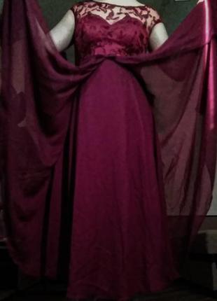 Нарядное вечернее (выпускное) платье в пол с корсетом