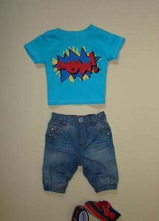 Комплект малышу 0-2 мес джинсы next + футболка george в подарок
