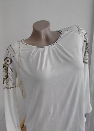 Блуза с вышивкой паетками и  бисером, monsoon, 11-12лет.