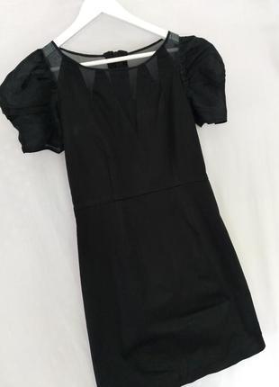 Дизайнерское маленькое черное платье футляр от charlotte eskildsen с натуральным шелком