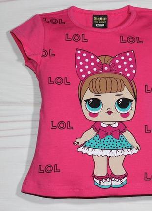 Хлопковая малиновая футболка с рисунком lol, турция
