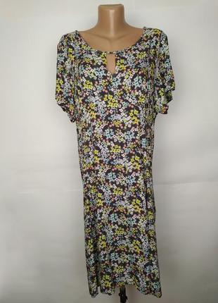 Платье натуральное летнее в цветочный принт большой размер marks&spencer uk 20/48/3xl