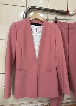 Костюм брючный пиджак жакет брюки высокая посадка костюм zara6 фото