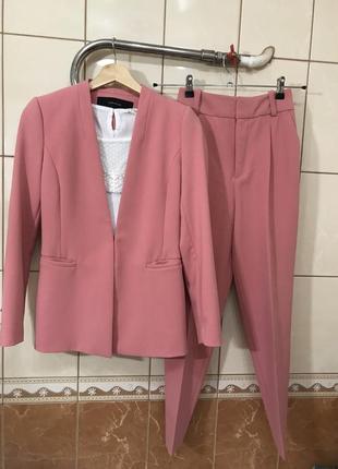 Костюм брючный пиджак жакет брюки высокая посадка костюм zara5 фото