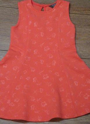 Красивое коралловое платье primark 2-3 года