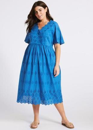 Платье длинное с ажурной вышивкой прошва размер 12-14 marks & spencer