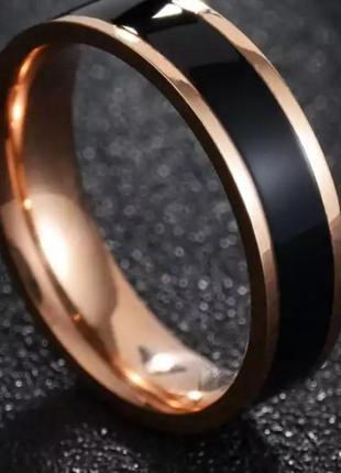 Кольцо колечко нержавеющая сталь золото черное